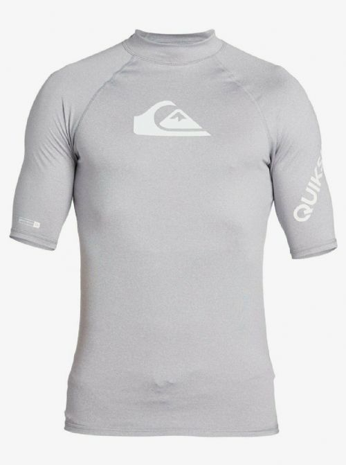QUIKSILVER MENS RASH VEST.NEW ALL TIME GREY UPF50+ GUARD SHORT SLEEVE TOP S20 28